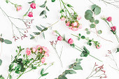 istock Pink flowers and eucalyptus branches. Flat lay, top view 920374988