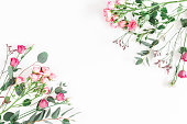 istock Pink flowers and eucalyptus branches. Flat lay, top view 921661238