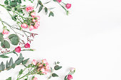 istock Pink flowers and eucalyptus branches. Flat lay, top view 926978428