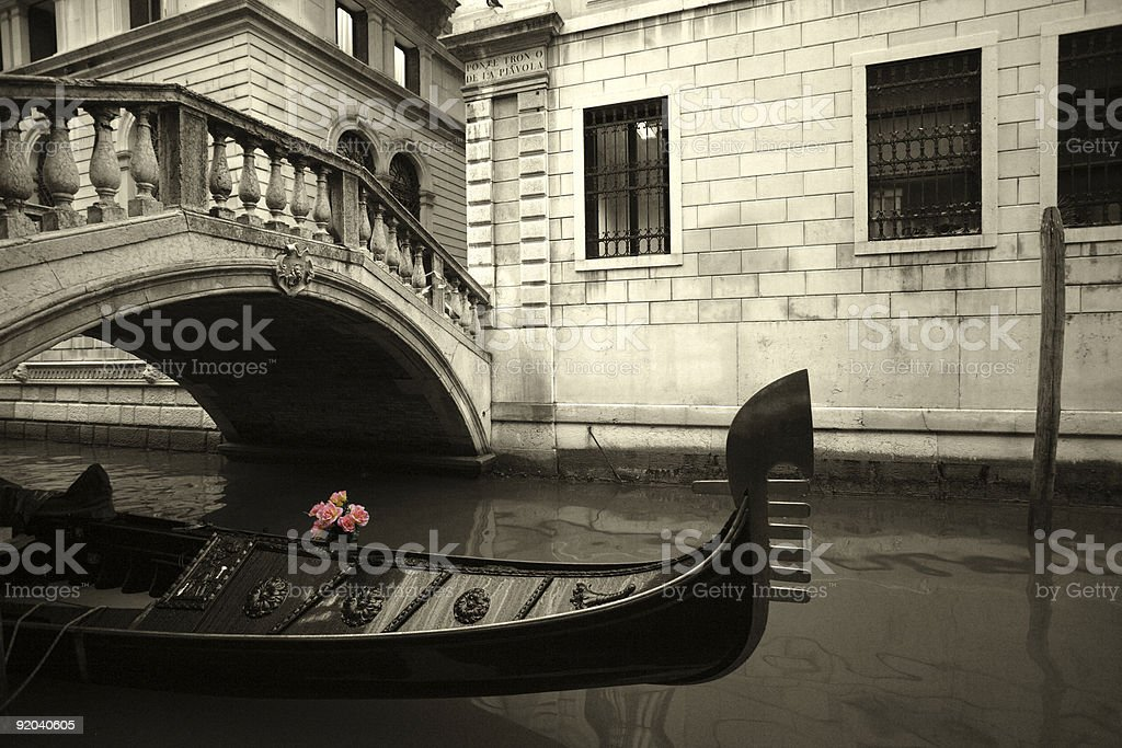 Pink Flowers and gondola royalty-free stock photo
