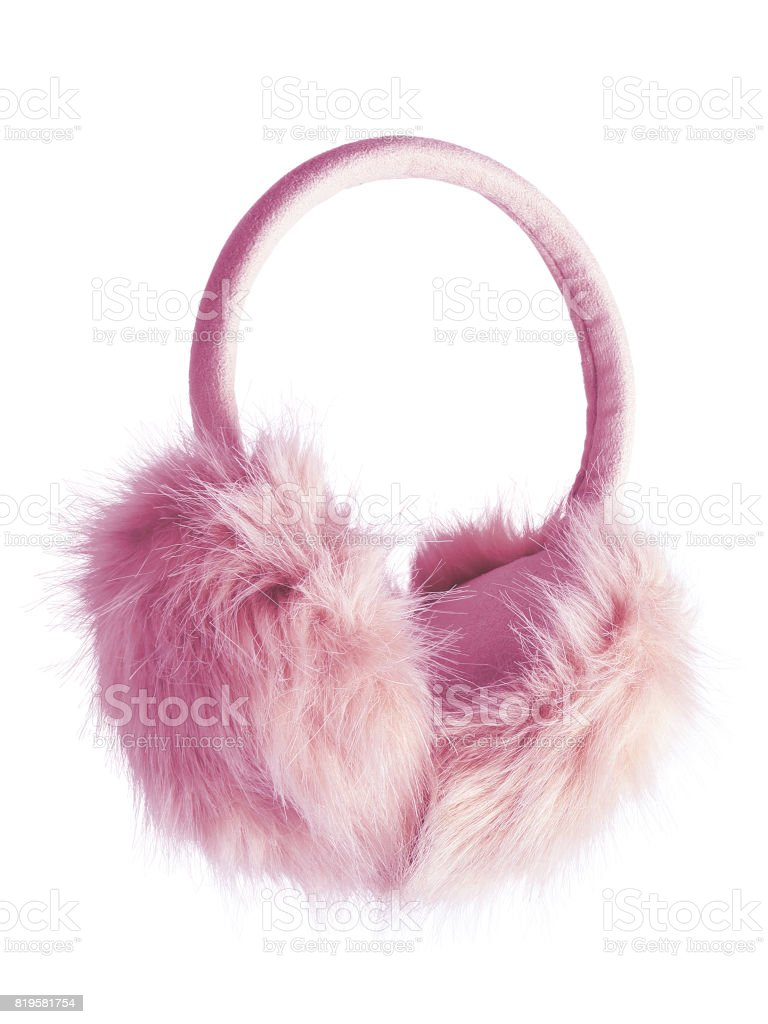 Pink fluffy furry earmuffs isolated on white stock photo