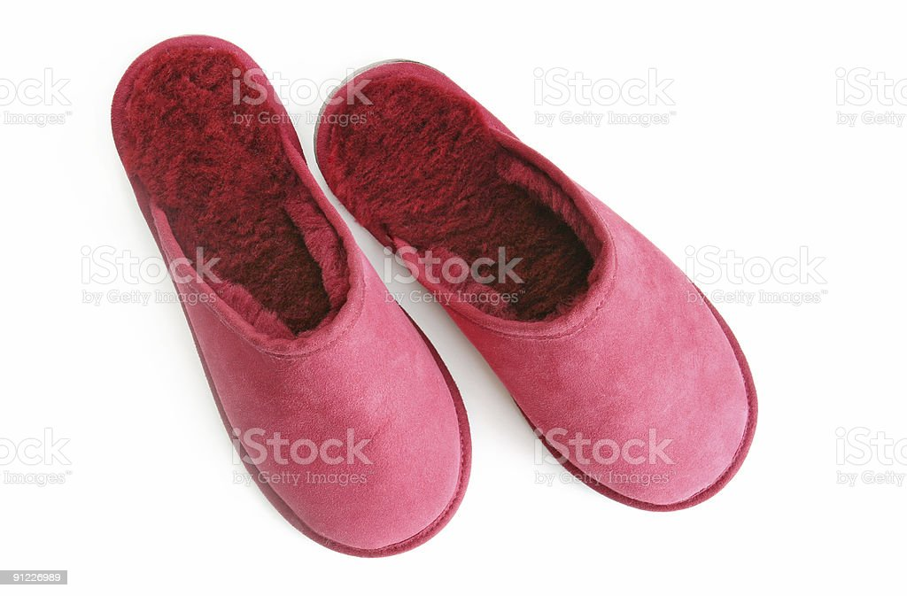 Pink Fluffy Slippers royalty-free stock photo
