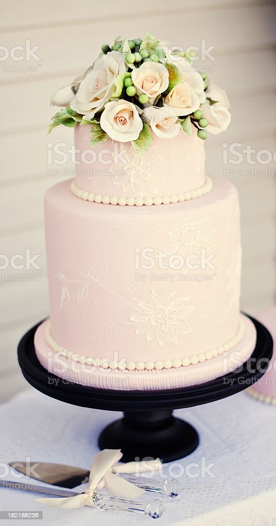 Pink Fondant Wedding Cake stock photo