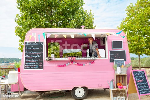 Food truck with owner inside