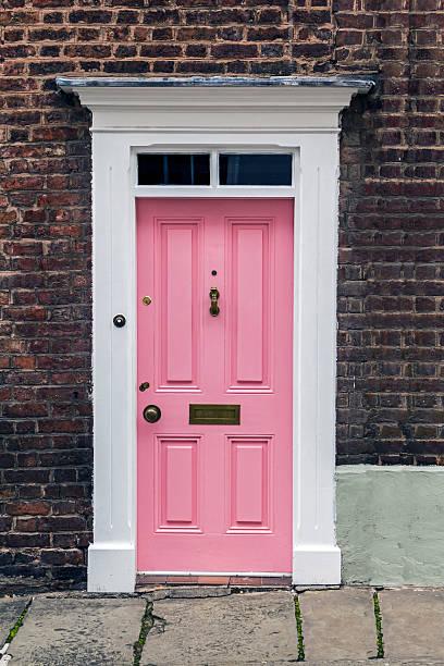 Pink Front Doors stock photo