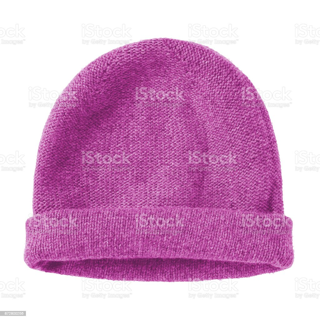 Pink fuchsia worm winter woolen hat cap flat isolated on white stock photo