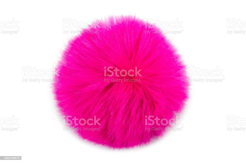 Pink fur ball isolated on white background royalty-free stock photo