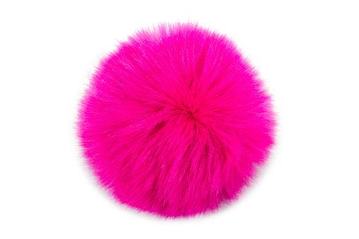 白色背景的粉紅色毛皮球 照片檔及更多 具有特定質地 照片