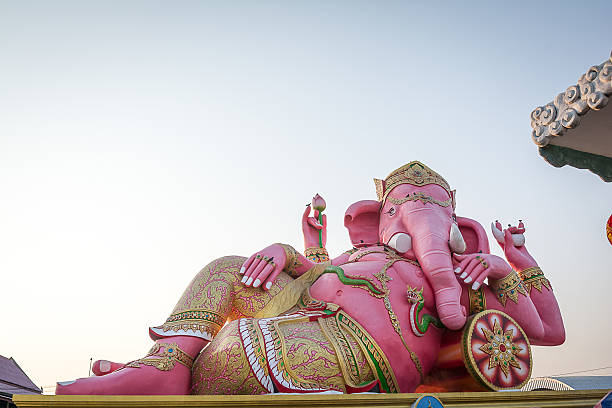 Pink Ganesha Statue at Saman Rattanaram Temple, Chachoengsao Province, Thailand stock photo