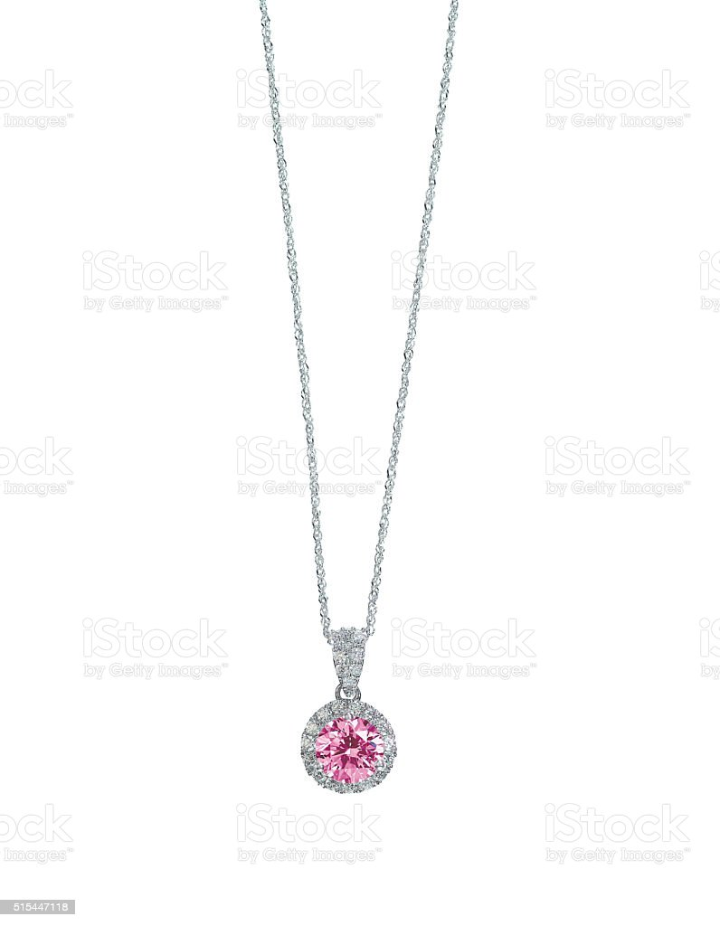 Pink Gemstone diamond necklace with chain stock photo