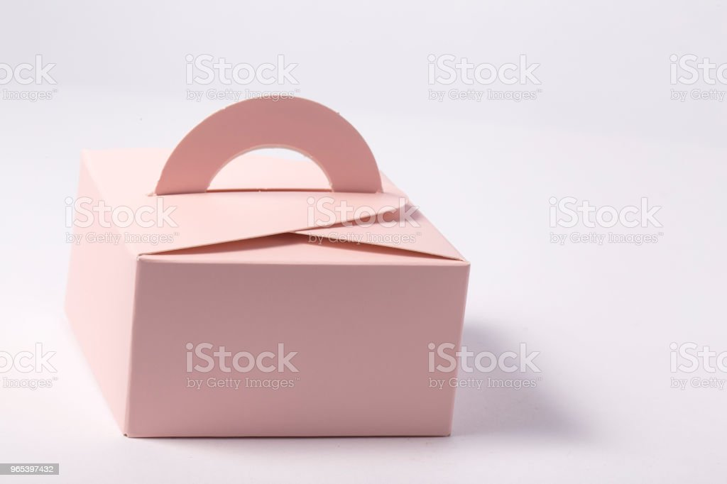 Pink gift box on white background royalty-free stock photo