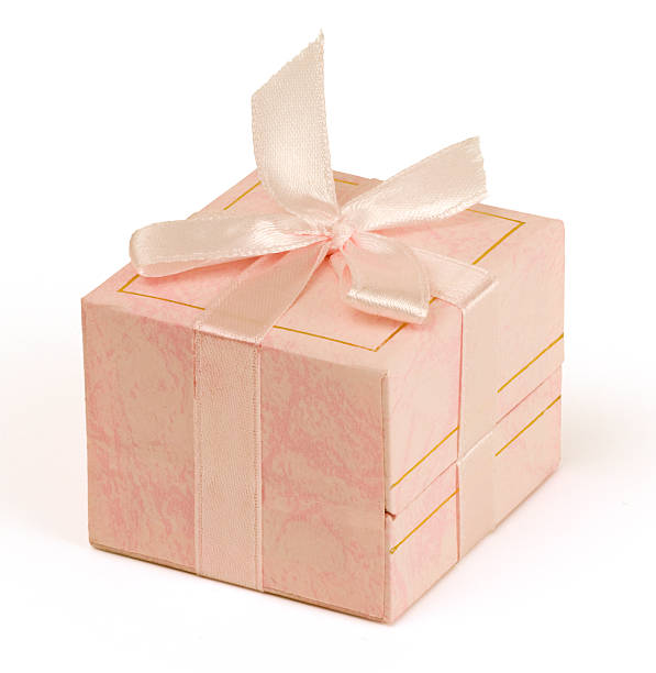Pink gift box (clipping path) stock photo