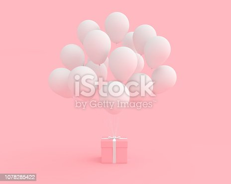 istock Pink gift box with balloon white color on pink background 1078285422