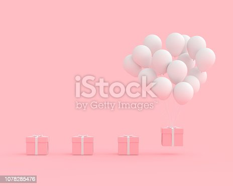 istock Pink gift box with balloon white color on pink background 1078285476