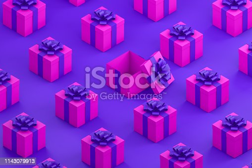 1073585628 istock photo Pink Gift Boxes with Purple Ribbon Minimal 3d Design, Isometric View 1143079913