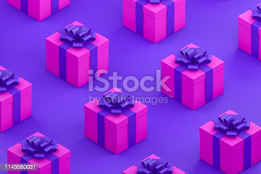 1073585628 istock photo Pink Gift Boxes with Purple Ribbon Minimal 3d Design, Isometric View 1143080031