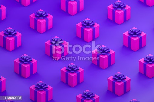 1073585628 istock photo Pink Gift Boxes with Purple Ribbon Minimal 3d Design, Isometric View 1143080225