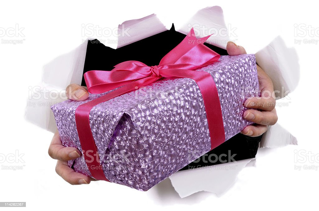 Pink gift bursting through background royalty-free stock photo