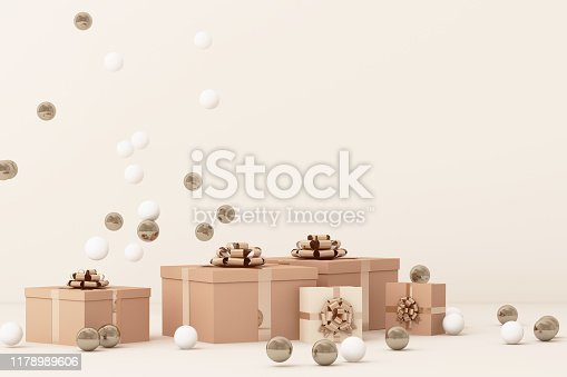 istock Pink  giftboxs  surrounding by a lot of gold and white ball. 3d rendering 1178989606