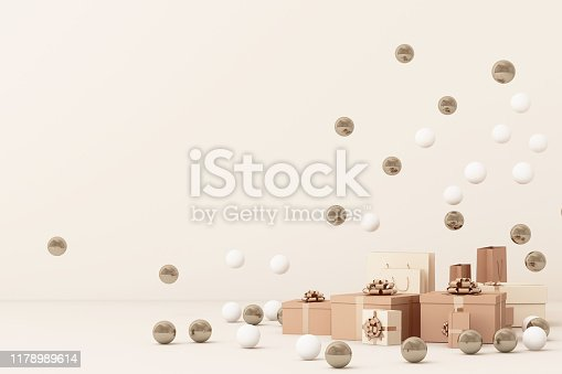 istock Pink  giftboxs  surrounding by a lot of gold and white ball. 3d rendering 1178989614