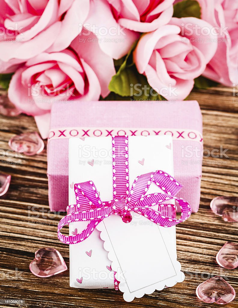 Pink Gifts and Roses royalty-free stock photo