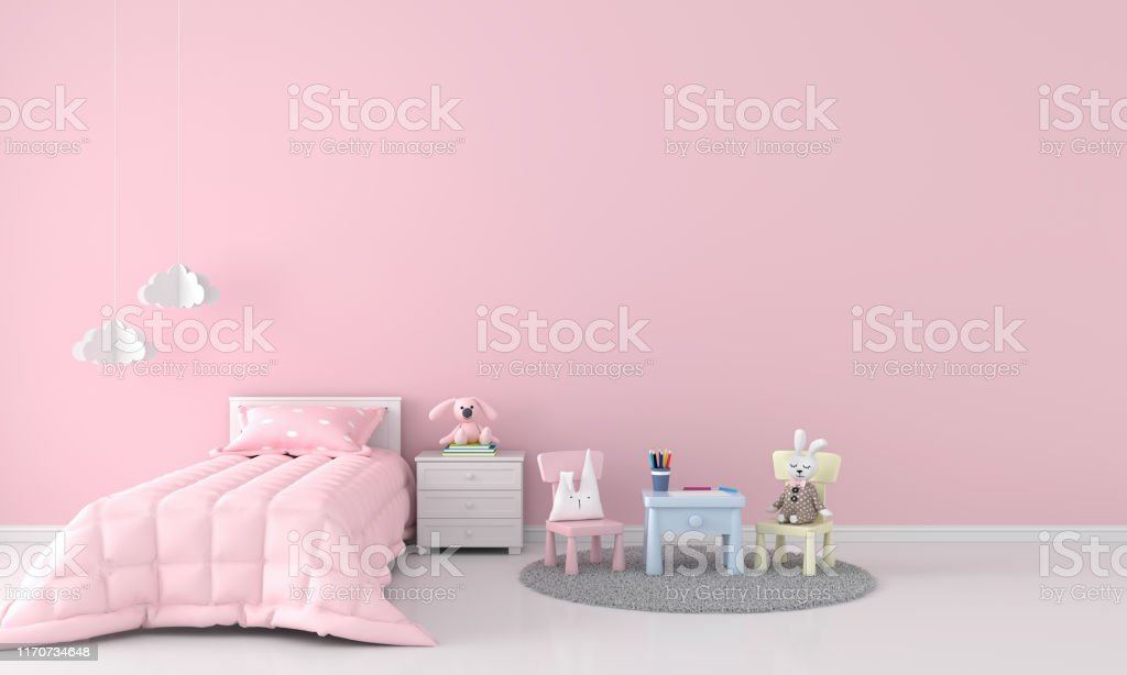 Rosa Madchen Schlafzimmer Fur Mockup 3drendering Stockfoto Und Mehr Bilder Von Babyzimmer Istock