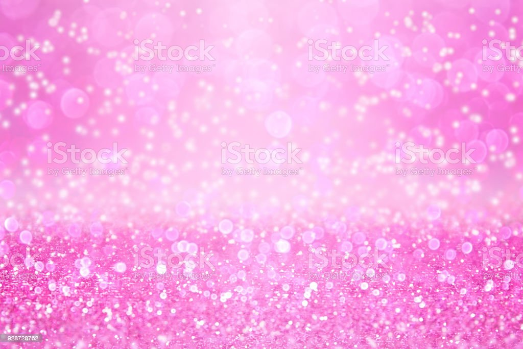 Pink Glitter Background for Happy Birthday or Girl Princess Party stock photo