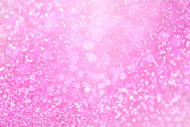 Pink Glitter Sparkle Fairy Lights Background stock photo