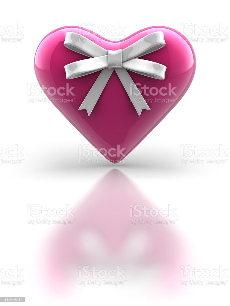 Pink Glossy Heart with Ribbon stock photo
