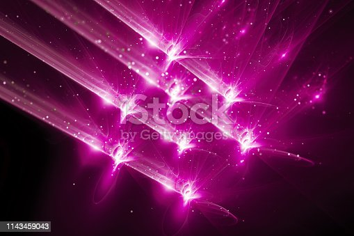 istock Pink glowing quantum weapon abstract background 1143459043