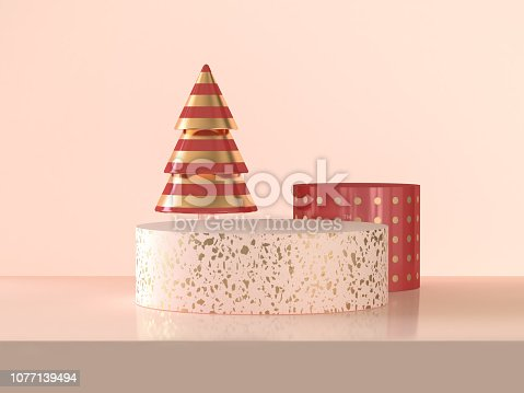istock Pink gold circle podium abstract 3d rendering scene celebrations Christmas holiday concept 1077139494