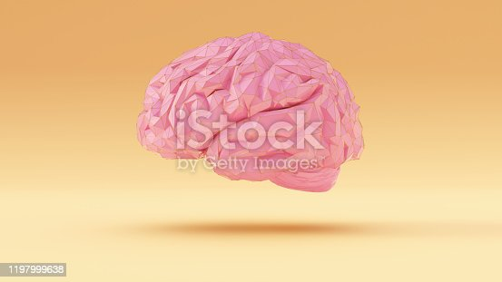 937060922 istock photo Pink Gold Cyber Brain Angular Artificial Intelligence with Warm Cream Background Left View 1197999638