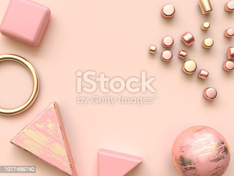 istock pink gold metallic abstract shape flat lay decoration 3d rendering 1077486740