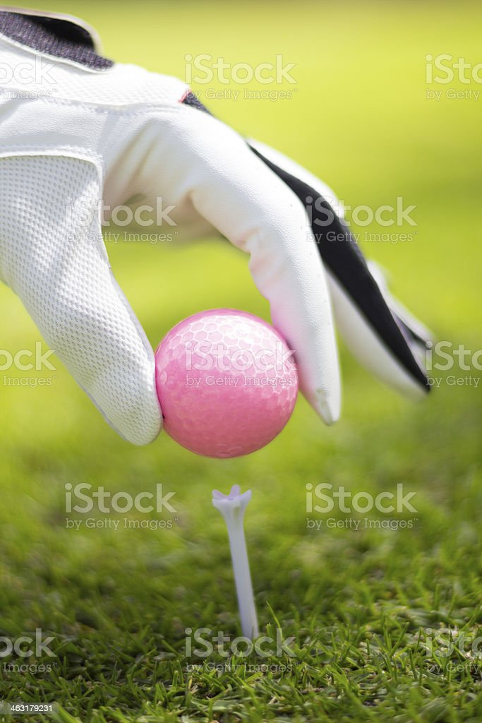 Pink golf ball and player golf - outdoors