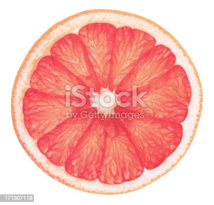 a high definition image of a slice of a pink grapefruit, shot against a white background. A Clipping Path has also been provided (just within the outline) to assist placement if required.