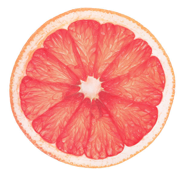 Pink Grapefruit Slice High Definition stock photo