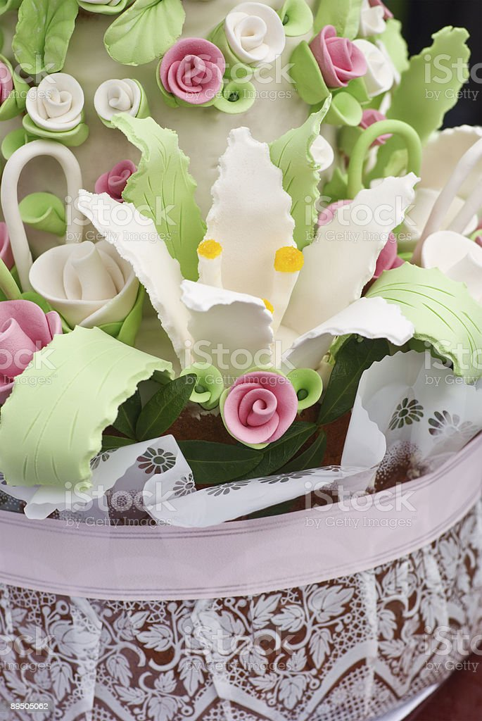 Pink, green and white wedding cake royalty-free stock photo
