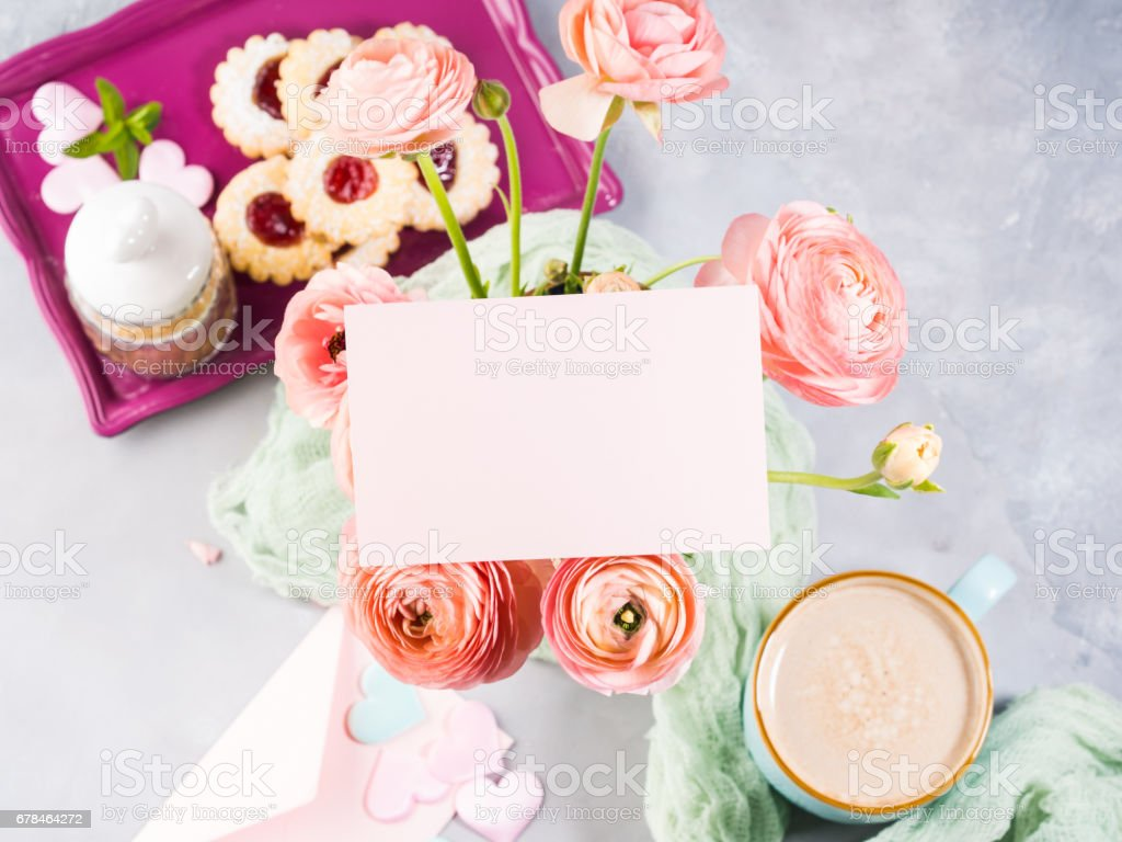 Pink greeting card and flowers royalty-free stock photo