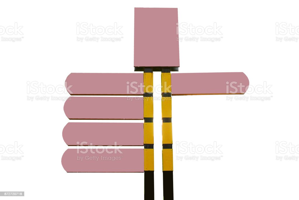 A pink guidepost stock photo