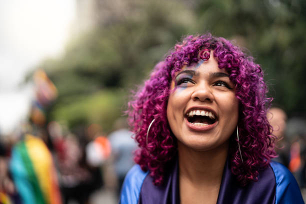 Pink Hair Girl Portrait Diversity gay pride parade stock pictures, royalty-free photos & images
