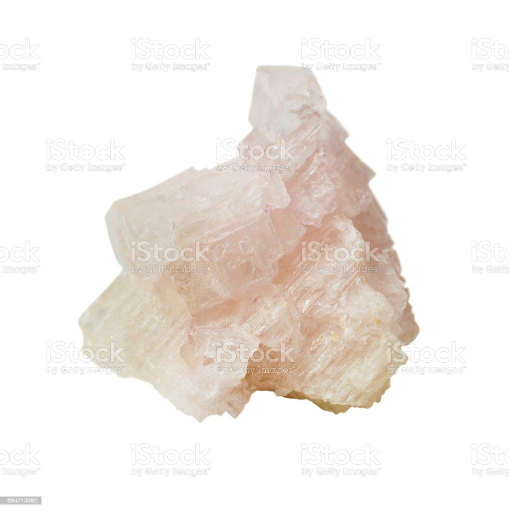 Pink halite on white background stock photo