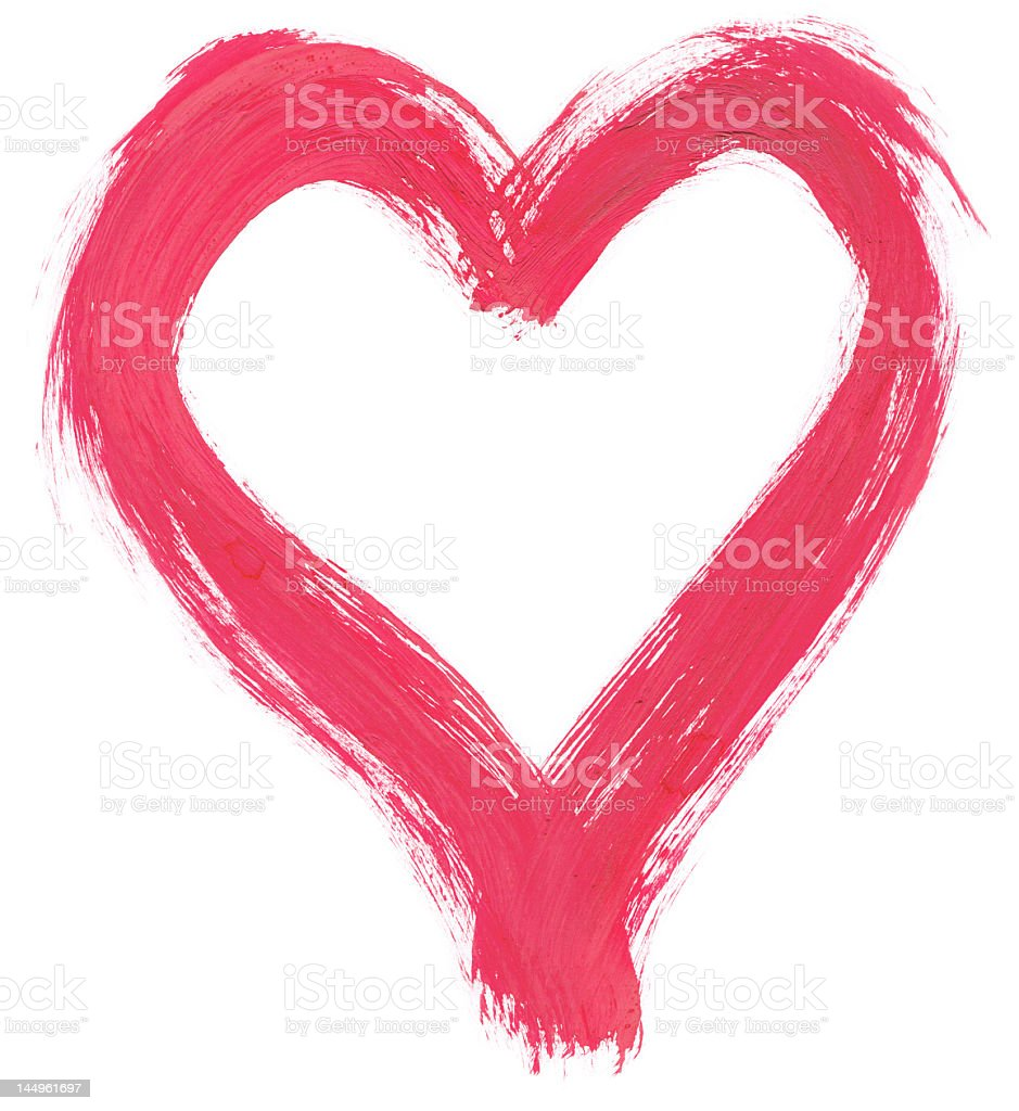 pink handpainted heart royalty-free stock photo
