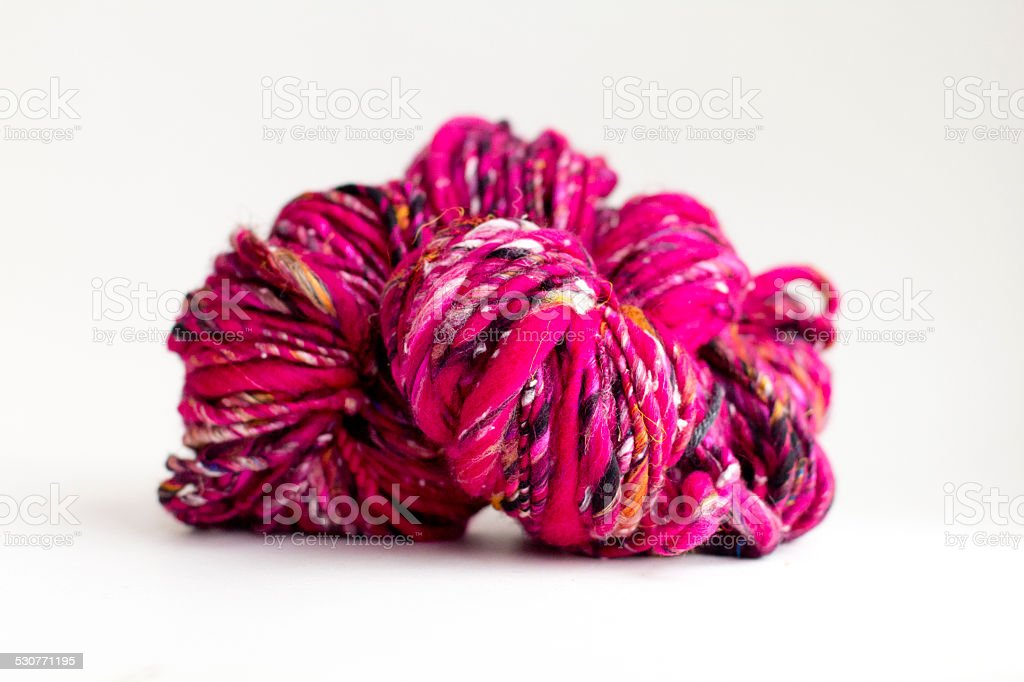Pink Handspun Art Yarn stock photo