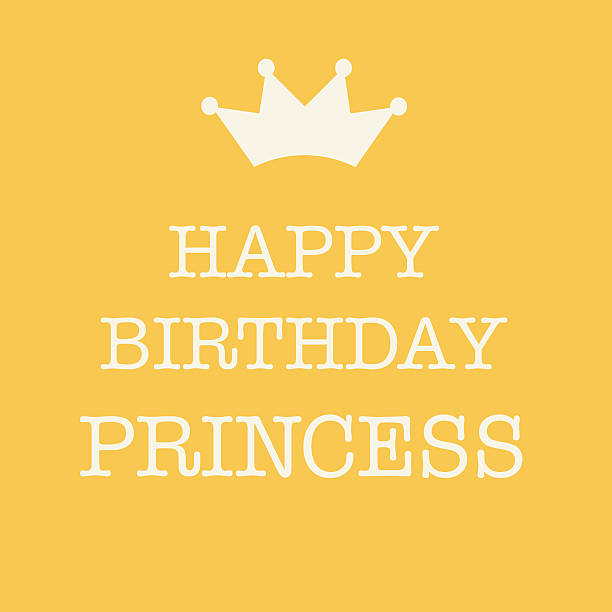 Pink Happy Birthday card with a princess crown stock photo