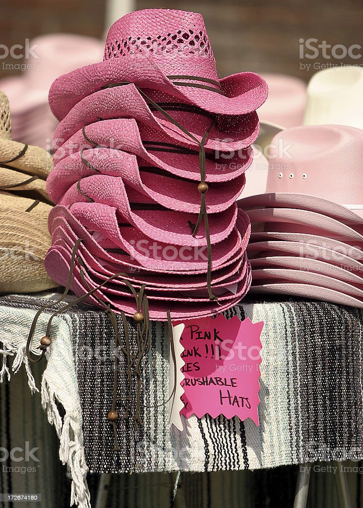 Pink Hats for Sale stock photo