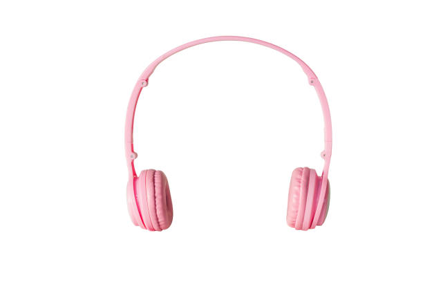 pink headphones on white background with clipping path. stock photo