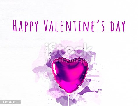 1078237178 istock photo Pink heart balloon on bright background with watercolor splatters. Creative minimal love concept. 1126408116