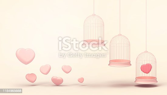 1078237178 istock photo Pink heart balloons trapped in triple Float cage and minimal Pink heart group , Love concept - Valentine style - Modern Art    pastel Yellow background  - 3d rendering 1154965668