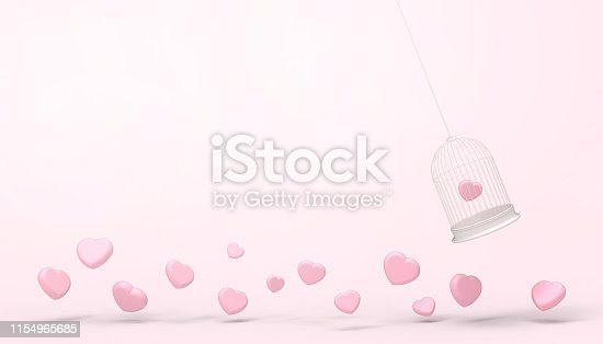 1078237178 istock photo Pink heart balloons trapped in White Float cage and minimal  heart group , Love concept - Valentine style - Modern Art    pastel pink background  - 3d rendering 1154965685