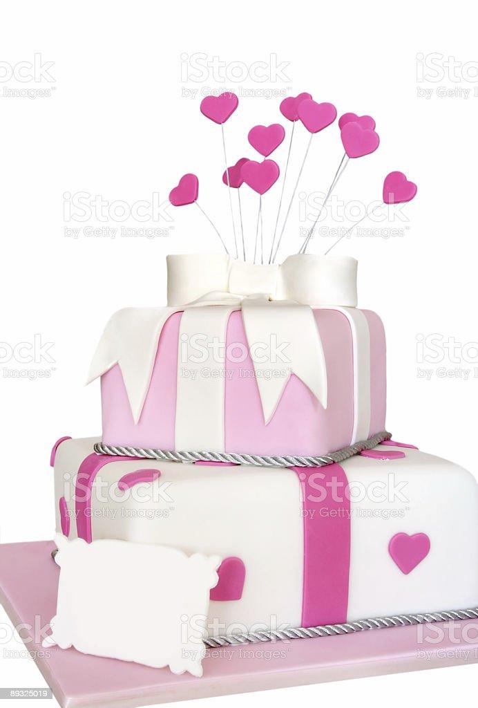 Pink Heart Cake royalty-free stock photo